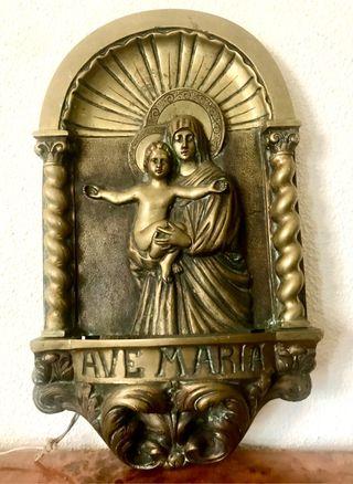 Antigua gran plancha religiosa de bronce