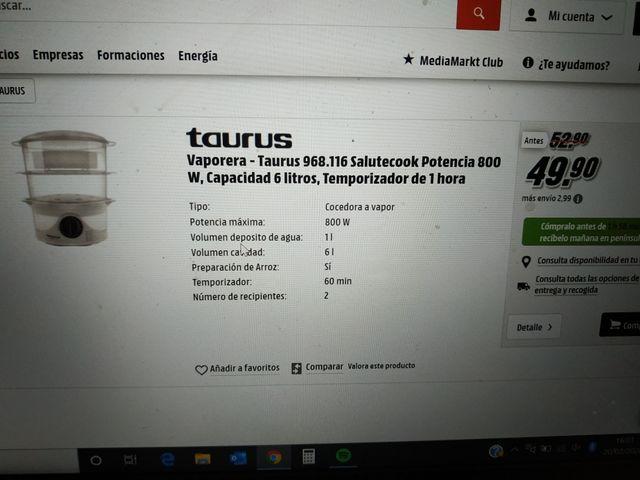 Vaporeta Taurus Salutecook 800w