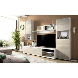 Conjunto de muebles modular de salon en color blan