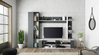 Mueble TV Nere blanco y gris moderno