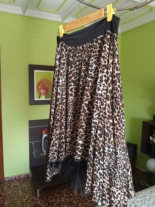 falda estampado animal con tul