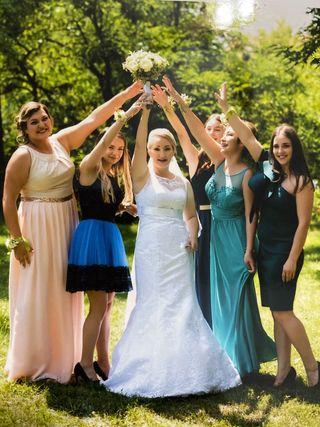 Vestido novia talla 36/38 - S/M con velo y cancan