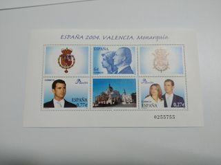 Hojita bloque. España 2004. Valencia. Monarquía.