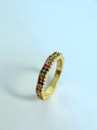 Anillo Piedras Colores Dorado Nuevo