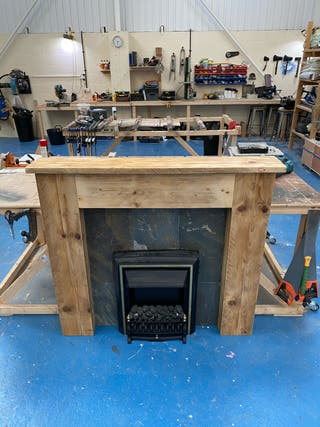 Hand made rustic 'plug and play' fire place