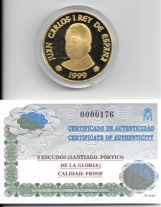 MONEDA 8 ESCUDOS PROOF XACOBEO´99