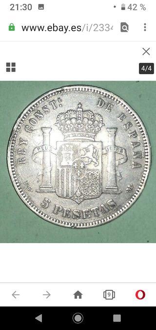 Moneda de plata antigua 5 pesetas