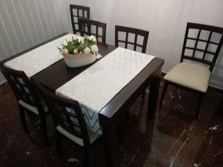 Mueble Mesa salón extensible y 6 sillas colonial