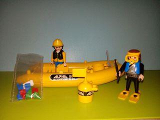 playmobil lote lancha submarinista
