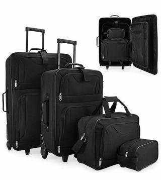 Juego de 4 maletas de viaje negras nuevas
