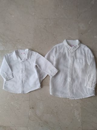 Dos camisas iguales de lino. Tallas 1 y 4 años
