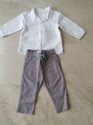 Conjunto camisa y pantalón lino.1 año.Ideal evento