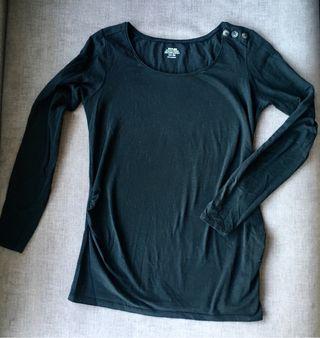 Camiseta negra manga lat premamá embarazada Kiabi