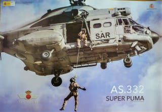 PÓSTER HELICOPTERO SUPER PUMA AS.332. 66X46,5 cent