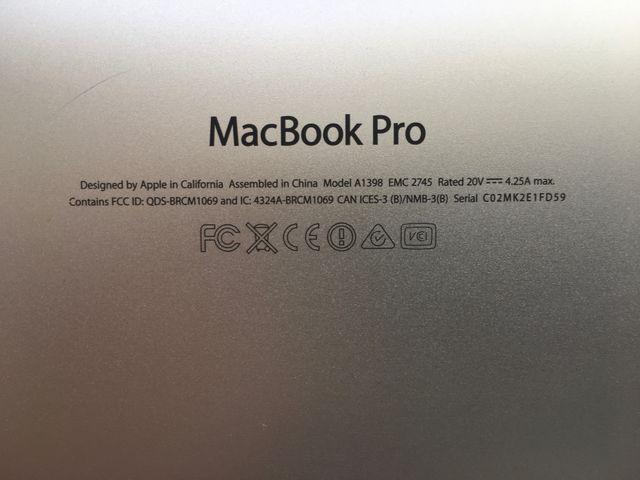 """MACBOOK PRO RETINA 15"""" Quad Core 2.6GHz Intel i7"""
