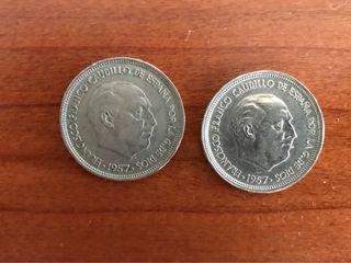 2 monedas 50 pesetas 1957