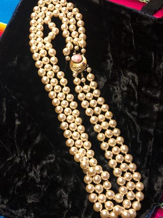 Collar perlas anudadas 3 vueltas vintage años 60
