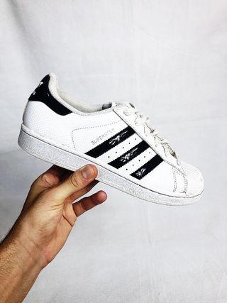 Adidas Superstar White & Black 3 Stripe Trainers