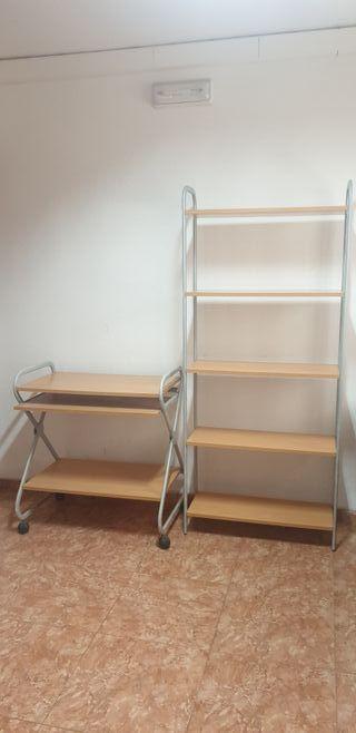 Conjunto de mesa ordenador y librería