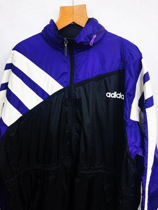Vintage 80s Adidas Purple/Black/White Windbreaker