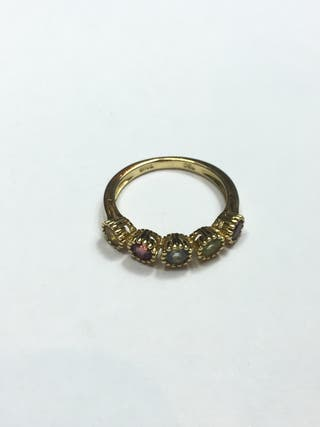 Sortija oro 18kilates piedras de colores