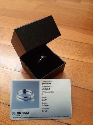diamante solitario anillo