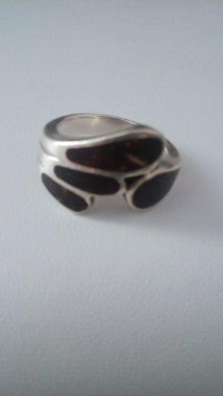 anillo plata y coco. talla 22 mm