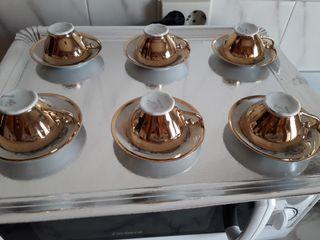 tazas pocelana con baño oro