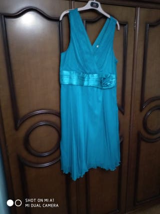 Vestido azul de gasa con forro