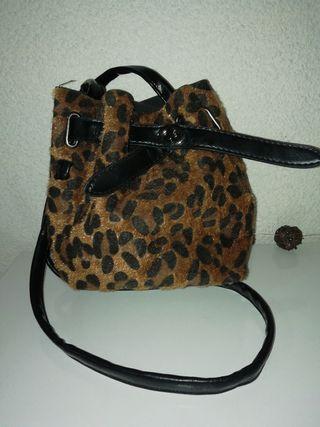 Bolso bombonera leopardo negro nuevo