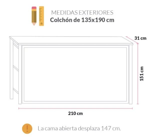 CAMA ABATIBLE HORIZONTAL 135×190