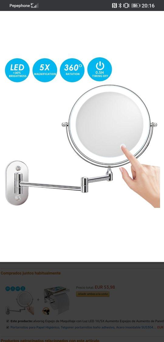 alvorog Espejo de Maquillaje con Luz LED 1X/5X Aum