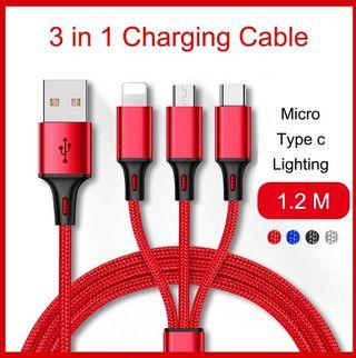 CABLE USB 3 EN 1 -DE CARGA- TYPE-C-MICRO-USB- IPH