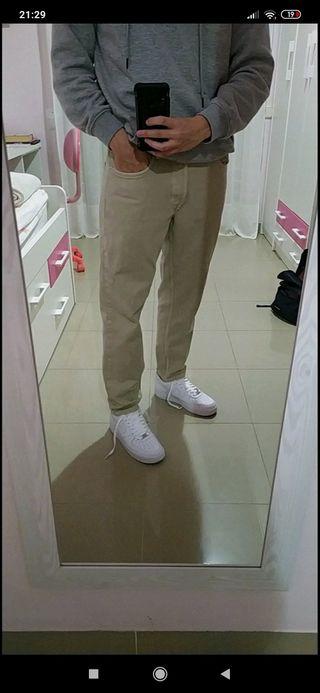 Pantalones tejanos crema/beige Zara NUEVOS