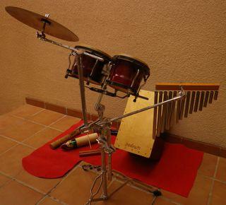 Batería, Kit Percusión Cajón Bongos Cabasa guiro
