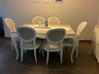 Conjunto de mesa y seis sillas .