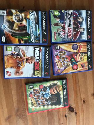 PS2 con juegos y mandos
