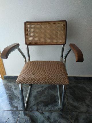 2 sillas cesca B64 Beuer mimbre y metal
