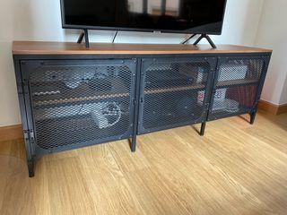 Mueble mesa TV hierro madera industrial