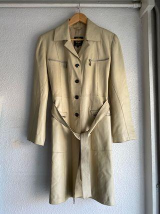 Abrigo piel largo blanco roto