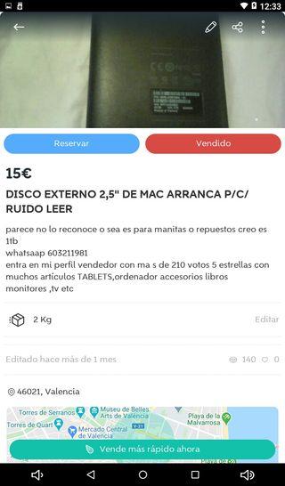 DISCO DURO EXTERNO P/PIEZAS O MANITAS