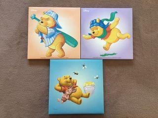 Bonita colección de 3 cuadros de Winnie The Pooh