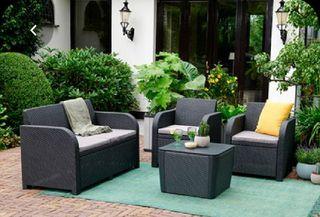 Conjunto exterior sofá, 2 sillones y mesa