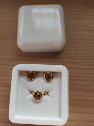Conjunto pendientes y anillo Lotus