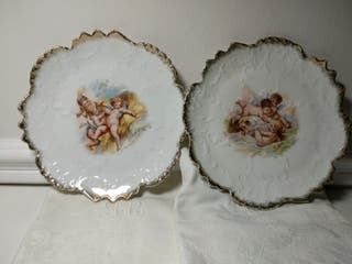 Platos de porcelana vintage ángeles