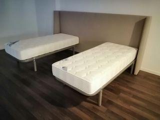 Cabecero forrado y dos camas