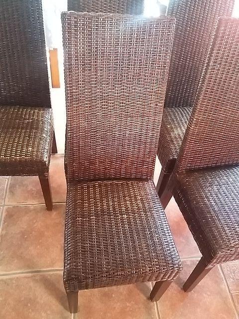 6 sillas ratan y madera respaldo alto