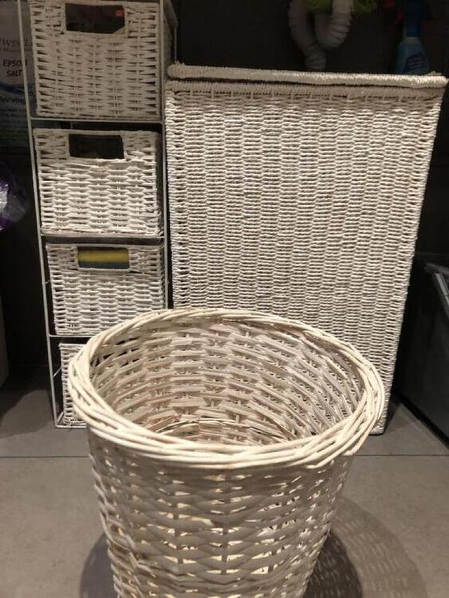 White Willow set : laundry basket, drawers and bin