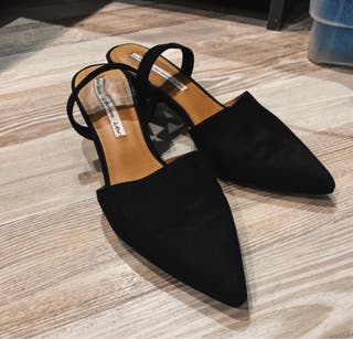 &other stories black suede kitten heels