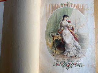 Tomo antiguo ilustrado 1880 Dama de las camelias